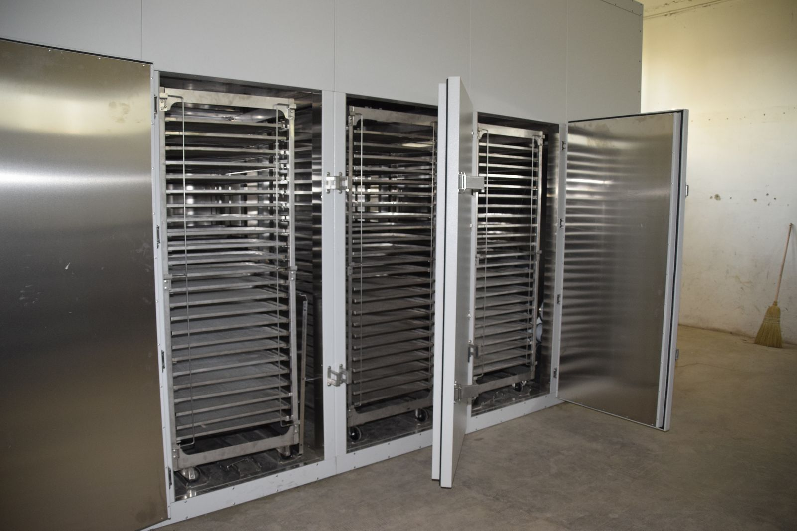 Fruit and vegetable dehydrators with doors open model FD-1x3